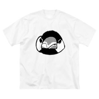 怒ってる文鳥の顔 Big silhouette T-shirts