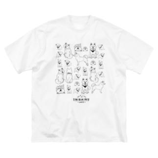 白柴たくさん Big silhouette T-shirts