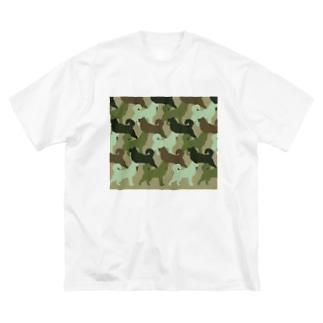 シベリアン ハスキー 迷彩柄 Big silhouette T-shirts