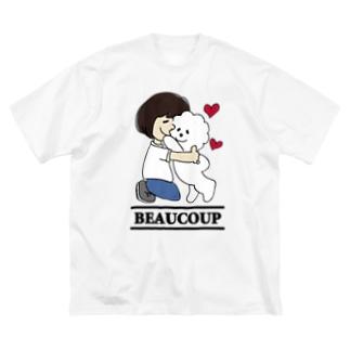 抱っこワンコ Big silhouette T-shirts