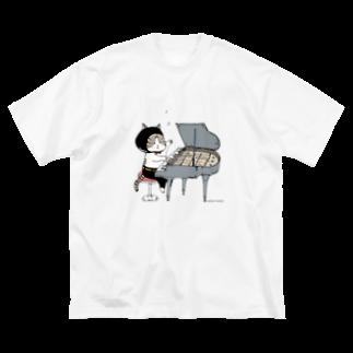 ほっかむねこ屋のピアノねこ Big silhouette T-shirts