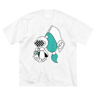 ウサネコのナイツ・フラッグ Big silhouette T-shirts
