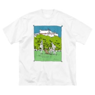 散歩道、出会い(透過) Big silhouette T-shirts