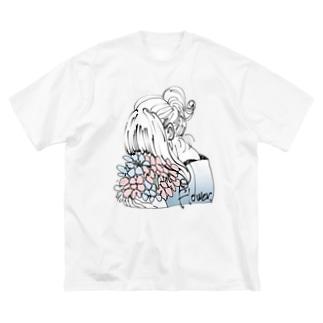 花 Big silhouette T-shirts