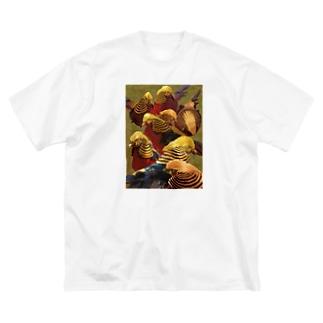 群金鶏図 Big silhouette T-shirts