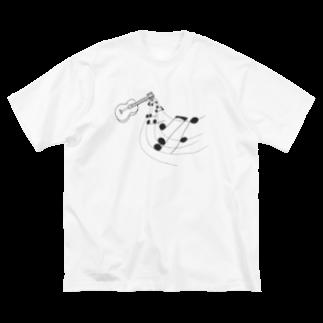 Lily bird(о´∀`о)の奏でるギター 線画 Big silhouette T-shirts