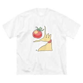 トマトを食べる犬 Big silhouette T-shirts