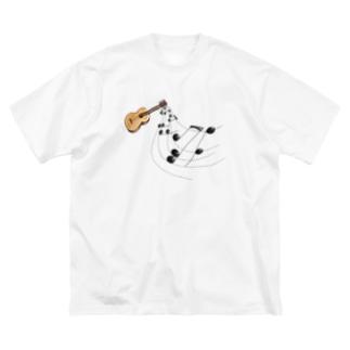 奏でるギター フルカラー① Big silhouette T-shirts