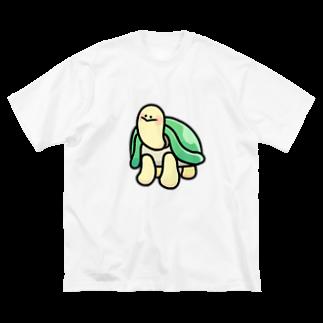 カメちゃん𓆉のツヤっとカメちゃん Big silhouette T-shirts