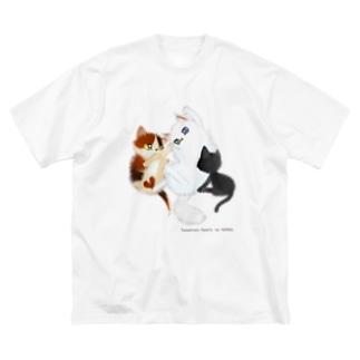 たわむれニャンズ Big silhouette T-shirts