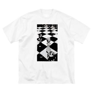 チェス モノトーン Big silhouette T-shirts