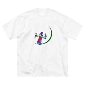一輪車でクリスマス♪ Big silhouette T-shirts