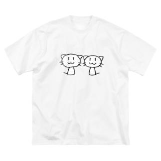 ねこ2ひき Big silhouette T-shirts