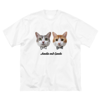 Amelie & Canele with Sora' s ShopのTwins Cats Amelie and Canele Big silhouette T-shirts