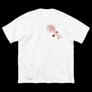 ごちゃごちゃの薔薇🌹 Big silhouette T-shirts