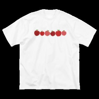 つきしょっぷのころころ赤リンゴ Big silhouette T-shirts