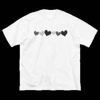 つきしょっぷの黒のハート Big silhouette T-shirts