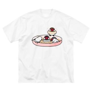 なかよし文鳥【まめるりはことり】 Big silhouette T-shirts