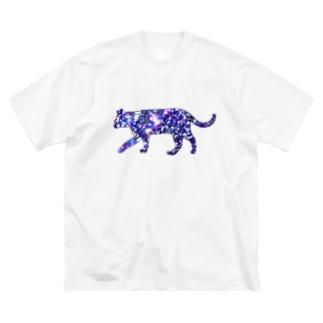 猫シルエット(ギャラクシー柄①) Big silhouette T-shirts