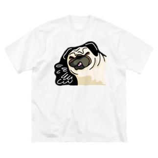 ぱぐもん。ぶえくしっ Big silhouette T-shirts