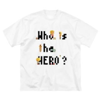 ピクセルもじ と ボクセルきょうだい(黒文字) Big silhouette T-shirts