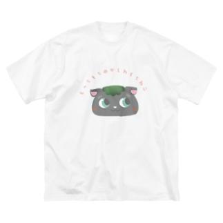 もっちもちの柏餅ねこ Big silhouette T-shirts