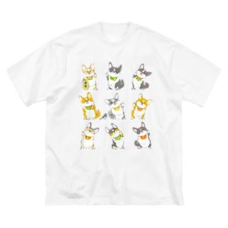 招きコーギー Big silhouette T-shirts