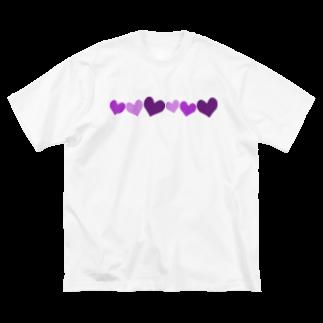 つきしょっぷの紫ハート Big silhouette T-shirts