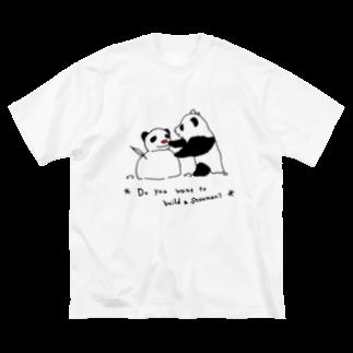 イトスク の雪だるま作ろう~♪ Big silhouette T-shirts
