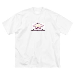 電車の下枠交差型パンタグラフ Big silhouette T-shirts