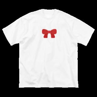 つきしょっぷの赤いリボン Big silhouette T-shirts