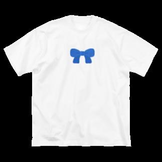 つきしょっぷの青いリボン Big silhouette T-shirts