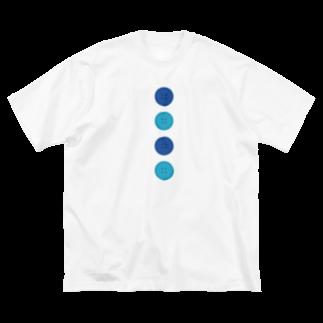 つきしょっぷの青いボタン Big silhouette T-shirts
