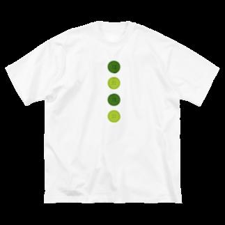 つきしょっぷの緑のボタン Big silhouette T-shirts