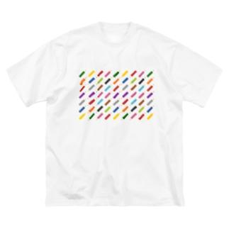つきしょっぷのぎっしりなカラフル色鉛筆 Big silhouette T-shirts