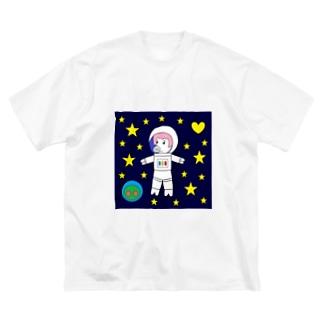 宇宙遊泳するBURARA Big silhouette T-shirts