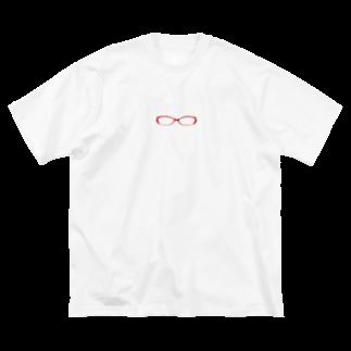 豆柴ビーンのお店の赤めがね Big silhouette T-shirts
