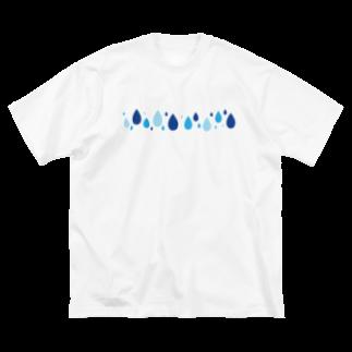 つきしょっぷの青い雫 Big silhouette T-shirts