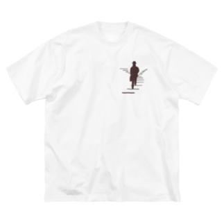シルエット まだ見ぬ世界へ ブラウン Big silhouette T-shirts