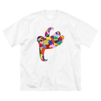 ナマケモノ Big silhouette T-shirts
