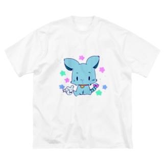 よぴ屋の青ペットくん Big silhouette T-shirts