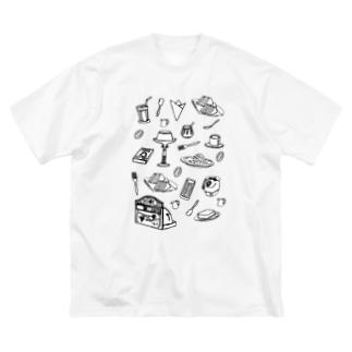 気ままに創作 よろず堂の純喫茶 モノクロ Big silhouette T-shirts
