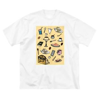 気ままに創作 よろず堂の純喫茶 いろどり 背景つき Big silhouette T-shirts