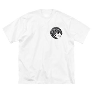 傾げる生首ちゃん。 Big silhouette T-shirts