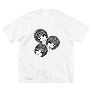 転がる生首三姉妹。 Big silhouette T-shirts