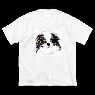 きょみこの狆グッズのおみせのCITY NEON Big silhouette T-shirts
