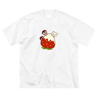 いちごとペンギンとシロクマ Big silhouette T-shirts