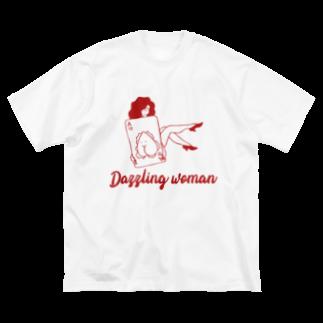 KUSUKUSU-COMPANYのDazzling woman Big silhouette T-shirts