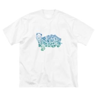ダイヤモンドバックテラピン 青緑  Big silhouette T-shirts