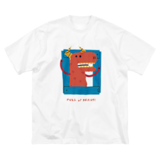 SANKAKU DESIGN STOREの元気いっぱい飛び出せモンスター!オレンジ色の子。 Big silhouette T-shirts